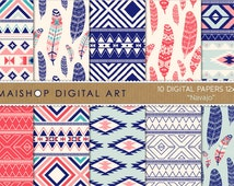 Tribal Digital Paper 'Navajo' Instant Download Geometric and Feather Patterns for Cards, Scrapbook, Invitations, Stickers...