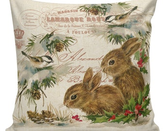 Christmas Pillow Vintage Holiday Bunnies French Style Cotton Front with Cotton or Burlap Back #CH0128 Elliott Heath Designs