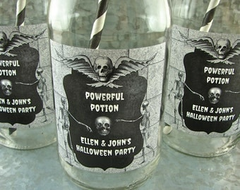 Personalized Halloween Party Vintage Style Milk Bottles - Chalkboard, Skull, and Skeleton Design - 12 Pieces