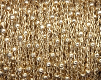 Gold Filled chain Satellite, wholesale 1.6mm curb 2.7mm ball - choose length 1 3 5 10 20 30 50Feet  25%Discounted price bulk quantity chain