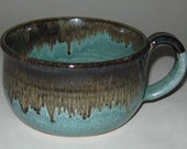 Pottery Soup Mug, Evergreen, Microwave and Dishwasher Safe, Lead Free Glaze, Wheel Thrown