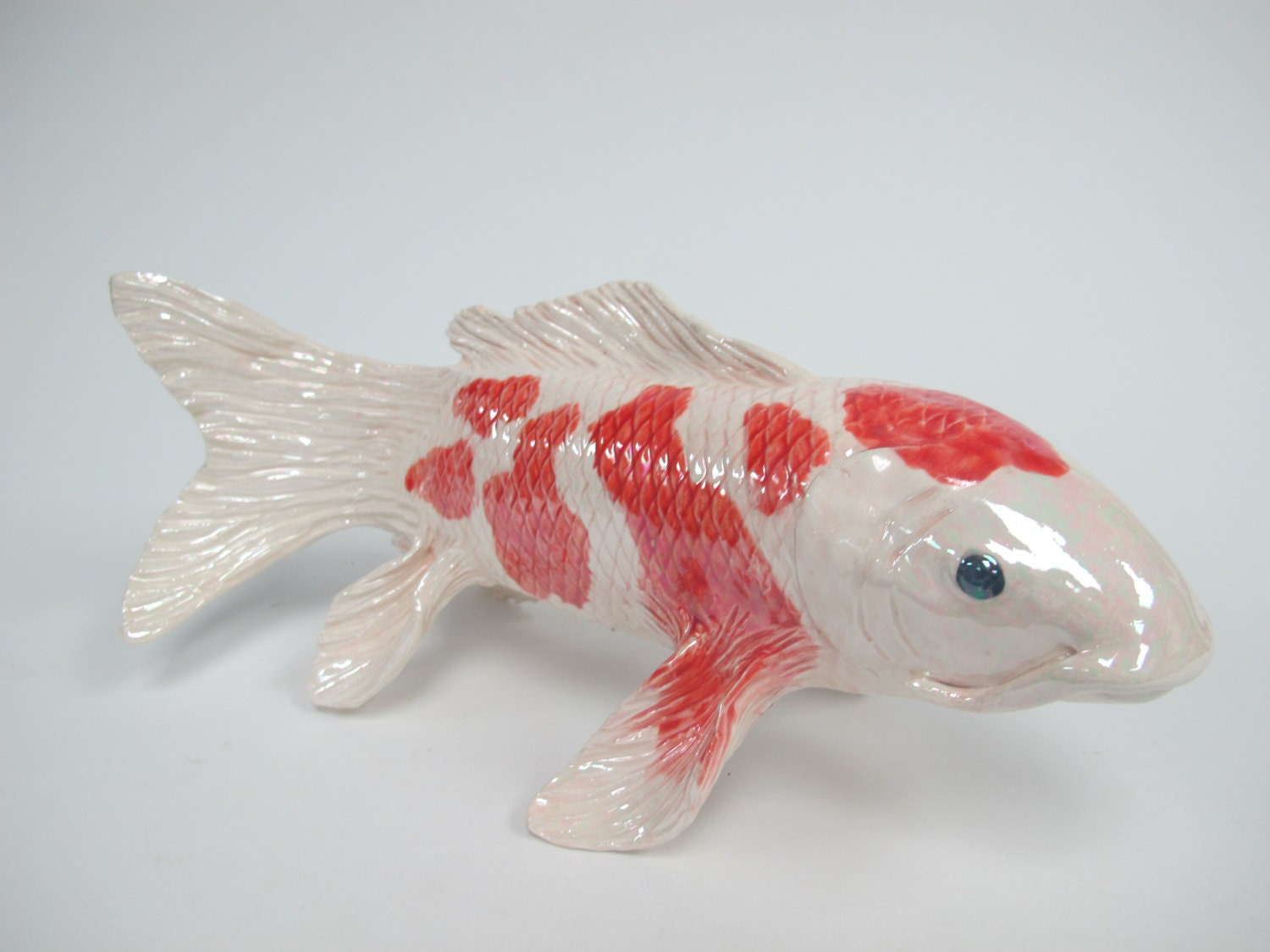 Koi fish sculpture hand made fish ceramic koi fish koi by for Looking after koi