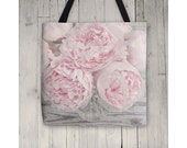 Tote Bag, Pastel Pink Peony Flower Photo Tote, Floral Tote, Reusable Canvas Bag, Market Bag, Book Bag, Gift For Her, 13x13, 16x16 or 18x18