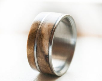 Mens Wedding Band Elk Antler Between Ironwood By StagHeadDesigns