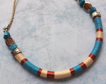 Wrap bib necklace - tribal necklace -ethnic - multicolor necklace