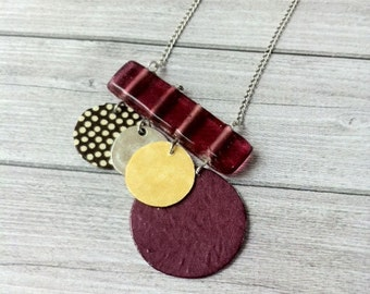 Asymmetrical Boho Necklace - Long boho chic necklace- paper jewelry -charm necklace  -geometric & simple jewellery -glass and paper necklace