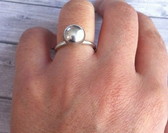 Sterling silver ring - Statement ring - minimalist jewelry - orb jewelry -simple ring - gift for her - ball silver ring - geometric jewelry