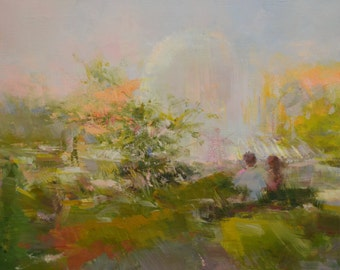 Impressionist painting on canvas, Oil painting abstract landscape painting original, Summer nature green