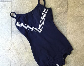 Vintage Swimsuit / Small - Medium / 1960's Navy blue with Greek graphics One Piece