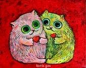Valentine's KirryCats Original Painting on Canvas by Katia Goa