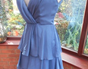 Blue Chiffon low cut padded bust all lined dress special occasion prom party wedding bridesmaid clubbing halloween uk size10 usa size 6