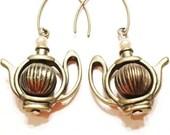 Alice in wonderland teapot earrings-Vintage styleTea pot earrings-  delicate tea pot earrings- unique gift for her