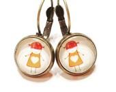 Little girl earrings- gift for mom-glass cabochon earrings- earrings for mom-gift for her