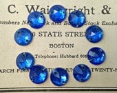 Vintage Small Sapphire Blue Glass Round Sew-On Rhinestones - Foil Backs, Glass Stones, Cabs - 9mm - Qty 10