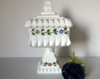 Hand Painted Floral Milk Glass Candy Dish / Vintage Milk Glass Compote / Pedestal Candy Dish
