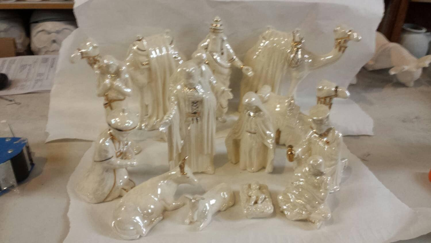 Christmas duncan nativity set in gold and by ceramickreations