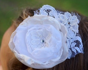 vintage lace wedding flower hair clip hand sewn ivory fabric flower photo prop flower girl briel fascinator hairpiece vintage boho upcycled