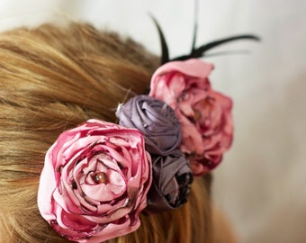 fabric flower hair rose pink purple wedding flower hair piece  black feather photo prop hair clip bridesmaid flower girl couture gatsby