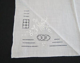 Pair of White Vintage Embroidered Handkerchiefs