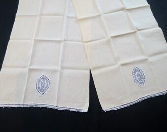 Hand Towels Monogrammed in Filet Crochet - M & E