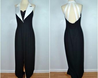 Vintage Tux Dress, Vintage Black and White Dress, Vintage Formal Tux Dress
