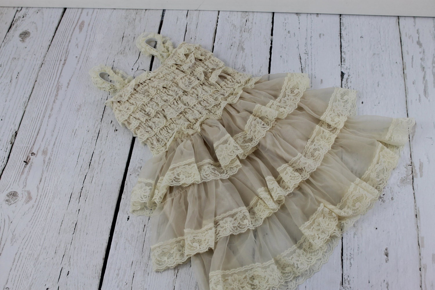Flower Girl Dress Champagne Rustic Girls by LisaAnnsCreations