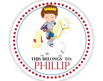 Name Label Stickers - Royal Prince Knight Sticker, Horse, Knight Personalized Name Sticker Tag, This Belongs To - Back to School Name Labels