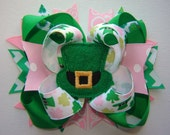 Girls Toddlers Infants St. Patrick's Day Large Double Stacked Twisted Boutique Bow with Leprechaun Hat Embroidered Feltie w/Assorted Spikes