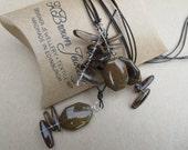 Gemstone Lariat Necklace, Jasper YNecklace, Smokey Quartz Bead Lariat, Edinburgh Jewellery Designer, Handmade Jewellery by K Brown Jewellery