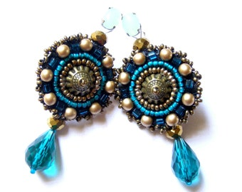 Bead embroidered earrings - Martyna