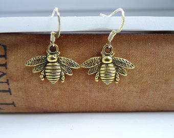 Bee earrings, gold bee, bug earrings, insect