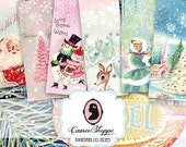 75% OFF SALE HAPPY Christmas Digital collage sheet Bookmark digital sheet digital tags scrapbooking instant download