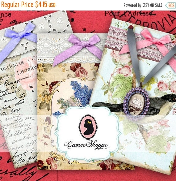 75% OFF SALE SHABBY Chic Romantic Digital Collage Sheet Jewelry Holders Atc Cards Digital Download