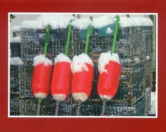 Lobster buoys in winter - Photo card