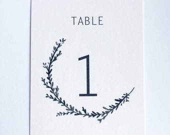 Minimalist Half Wreath, Wedding / Reception / Event Table Numbers
