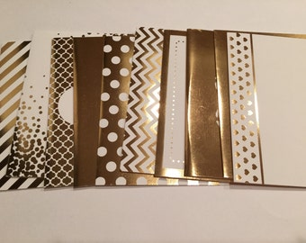 Gold Foil Blank Card Set - 10 cards / Card Set / Gold Greeting Cards / Holiday Cards / Chrstmas Card Set / Glamour Cards