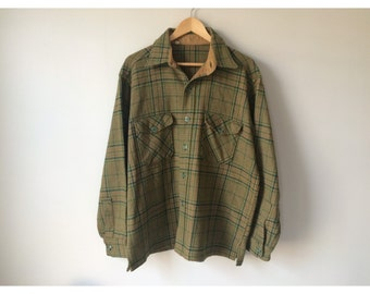 Green and brown plaid wool shirt. Men's Size XL