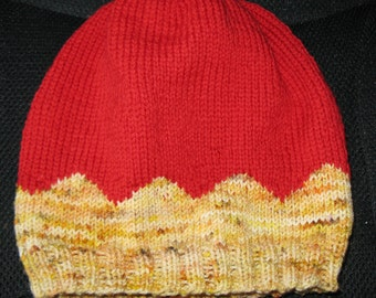 Knit Wool Slouchy Beanie - medium (toddler - small child) - burnt orange and yellow