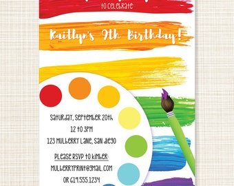 Paint / Art Birthday Invitation - Printable or Printed Cards