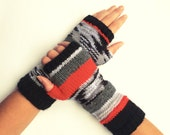 Knit fingerless gloves arm warmers fingerless mittens knit wrist warmers hand warmers striped black white red