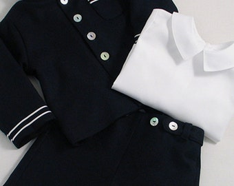 Navy Wool-mix Flannel Officer Jacket, Shorts and Shirt for a Baby Boy