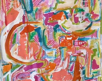 Orange abstract, original abstract painting, candy colored abstract, expressive abstract, large abstract, modern wall art, funky abstract