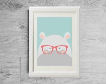 Illustration hippopotamus with glasses print - Kid's room wall art - Nursery art - Children print - Kids print - printed on matte paper