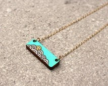 Laser cut wood necklace gift for her \ Gift under 50 dollars \ Nautical jewelry gift for beach lover \ Gift for girlfriend