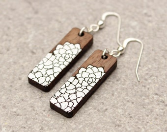 Flower Earrings | Silver Earrings | Wood Earrings | Laser Cut Earrings | Handpainted Earrings | Gold Earrings | Gifts under 50