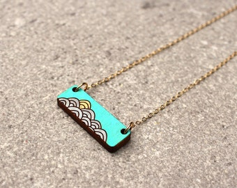 Wave Necklace, Ocean jewelry, Bar Necklace, Summer Necklace, Teal Necklace, nautical jewelry for women, gift for girlfriend, ocean waves