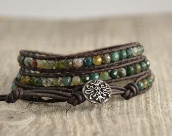 Rustic, earthy triple wrap bracelet. Boho shabby chic jewelry