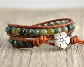 Beaded rustic leather wrap. Earthy double wrap bracelet