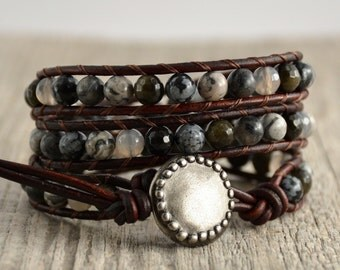 Beaded black and gray bracelet. Mixed beads rocker wrap bracelet
