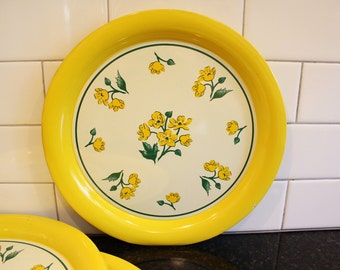 What's Up, Buttercup? … One Vintage Metal Round Serving Tray with Floral Design/Buttercups in Yellow, White and Green, 1950s - 3 Available